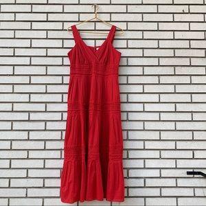 Coldwater Creek Red Raw Hem Tiered Maxi Dress